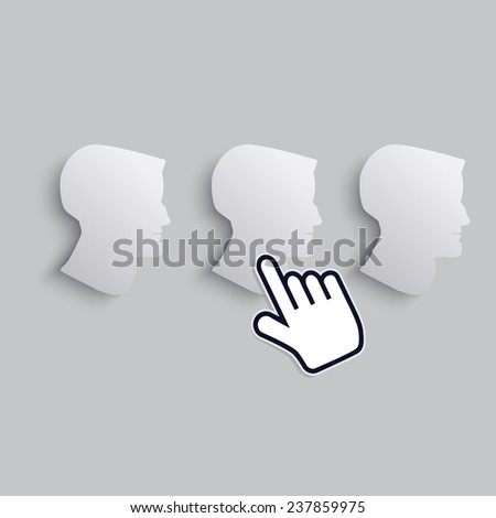 cursor hand icon indicates one of men - stock vector