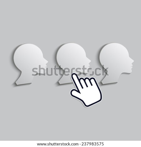 cursor hand icon indicates one of woman - stock vector