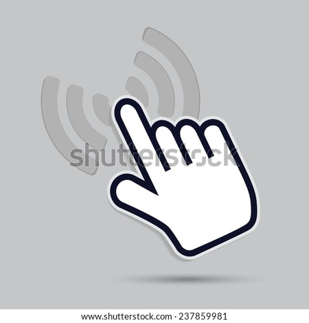 cursor hand icon presses a surface - stock vector