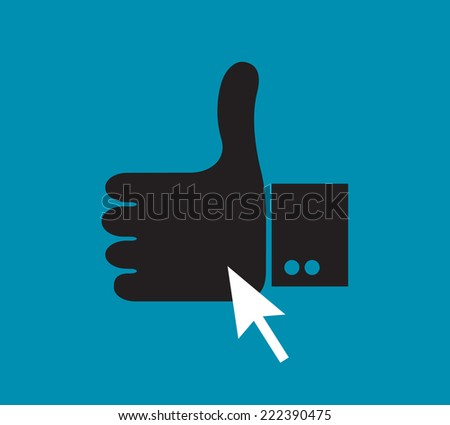 cursor pointer on the thumb up like symbol  - stock vector