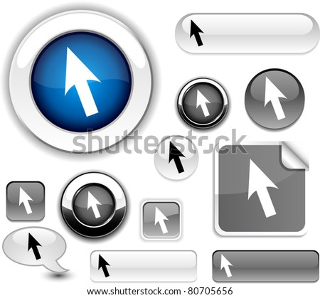 Cursor vector grey icons. - stock vector