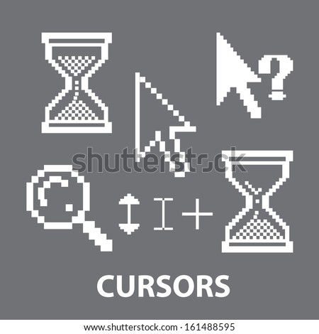 cursors icons, signs set, vector - stock vector