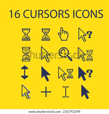 cursors, interface icons, signs set, vector - stock vector