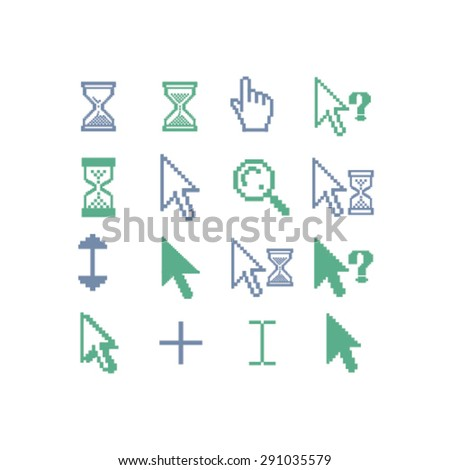 cursors, pixel, search, select, modify isolated icons, signs, illustrations on white background for website, internet, mobile application, vector - stock vector