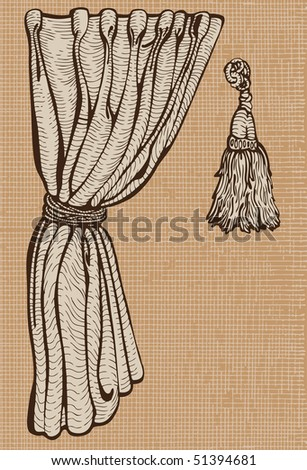 Curtain and tassel.Vintage drawing isolated objects.Vector
