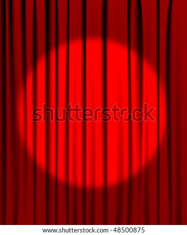 Curtain from the theatre with a spotlight - stock vector