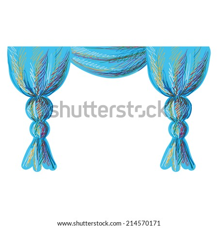 Curtain. Graphic sketch  - stock vector