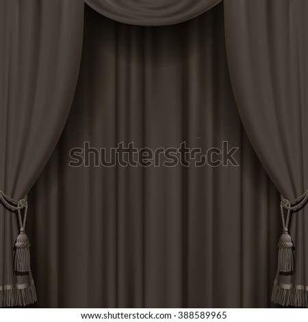 Curtain in dark vintage colors. Square retro theater background. Artistic poster
