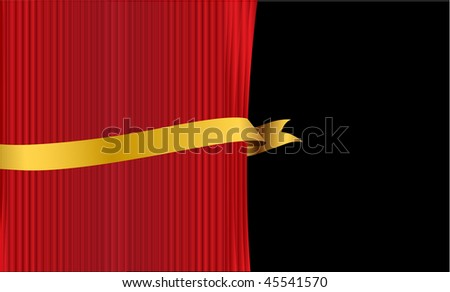 curtain with banner - stock vector
