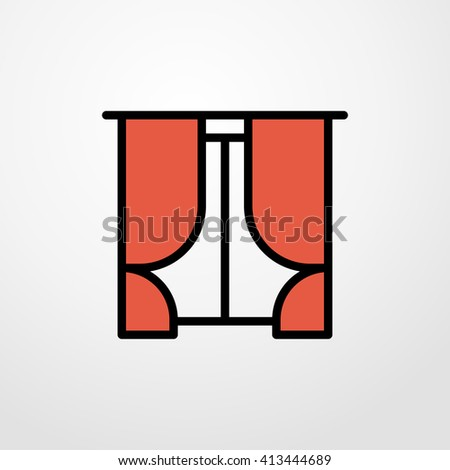 curtains icon. curtains sign - stock vector