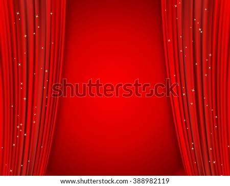 curtains on red background with glittering stars - stock vector