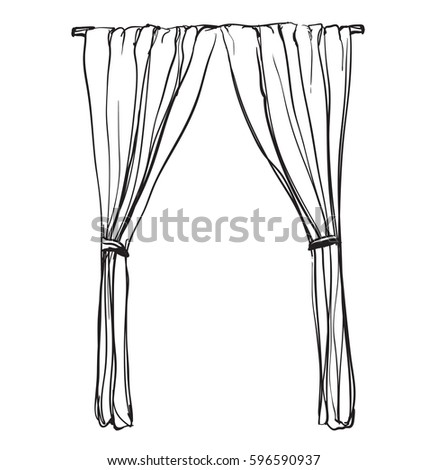 Window with curtains drawing gopelling curtains sketch hand drawn interior ilration stock vector thecheapjerseys Image collections