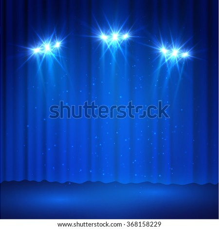 Curtains spotlight stage background. Vector eps10. - stock vector