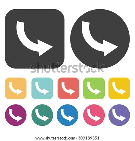 Curve arrow downwards icons set. Vector Illustration eps10 - stock vector