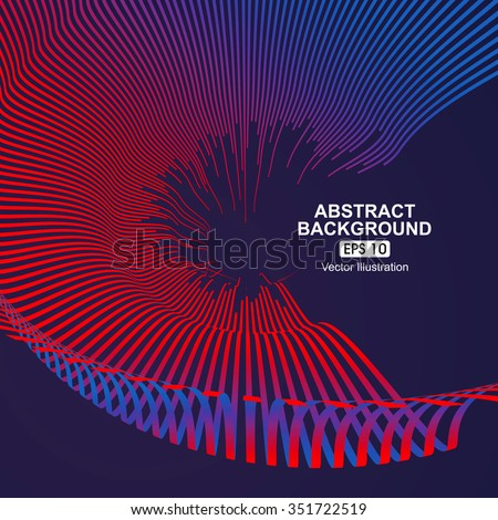 Curve composition have a sense of perspective background. - stock vector