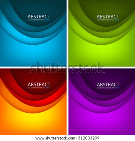 Curve layer paper vector background set with space for text and message design
