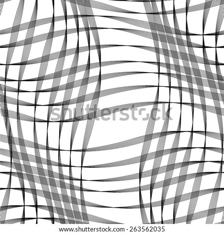 Curve linear square in the grid pattern, seamless vector background. - stock vector