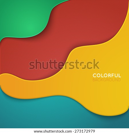 Curve lines shadow overlap 3D dimension. Modern flat material background. Eps vector 10 illustration. - stock vector