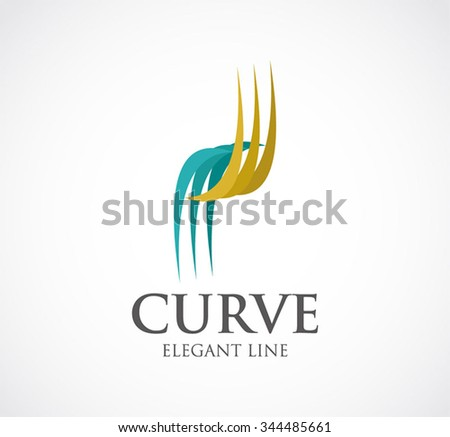Curve of elegant line abstract vector and logo design or template luxury ribbon business icon of company identity symbol concept - stock vector