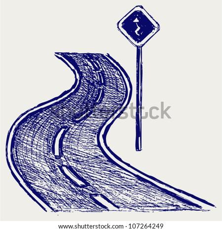 Curve road. Sketch - stock vector