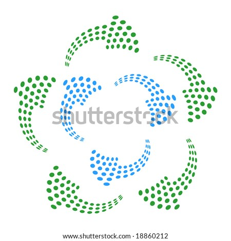 Curved arrows made up of dots can be used as recycle or flow indicators. - stock vector