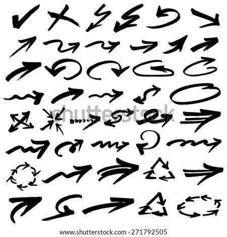 Curved arrows set - stock vector
