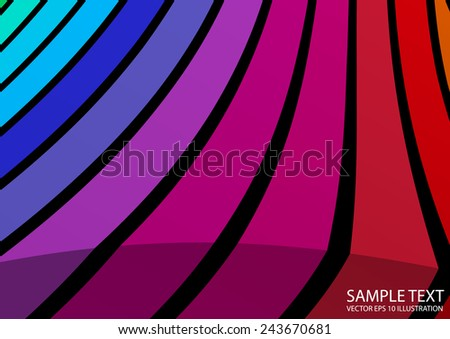 Curved colorful abstract design background illustration - Vector colorful and lined abstract background template - stock vector