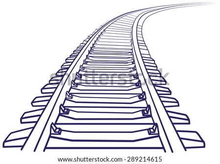 Curved endless Train track. Sketch of Curved Train track. Outlines.  - stock vector