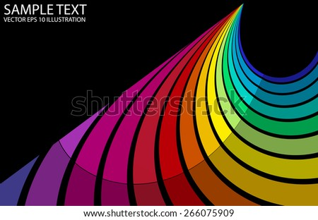 Curved rainbow background abstract vector illustration - Vector colorful striped abstract background template - stock vector