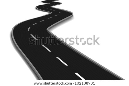Curved road bridge. Vector