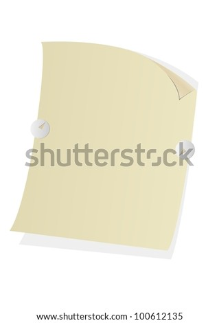 curved sheet for notes holds two pin isolated with white background - stock vector