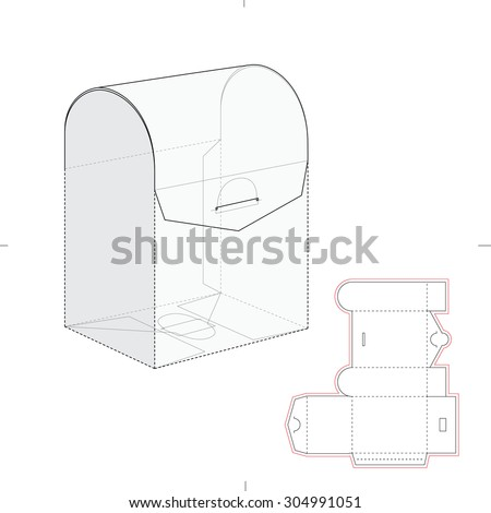 Curved Top Retail Box with Blueprint Template  - stock vector
