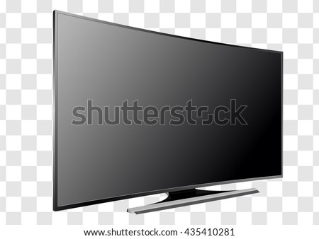 Curved TV screen lcd, plasma realistic vector illustration. - stock vector