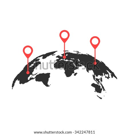 curved world map with red pins. concept of trip around the world, globalization, geolocation search, tourism. isolated on white background. flat style trend modern logo design vector illustration - stock vector