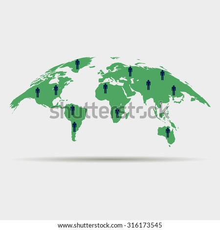curved world map with silhouettes of men - stock vector