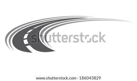 Curving tarred road or highway icon logo with center markings with diminishing perspective to infinity, cartoon illustration isolated on white - stock vector