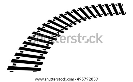 Curving train track, rail track silhouette isolated