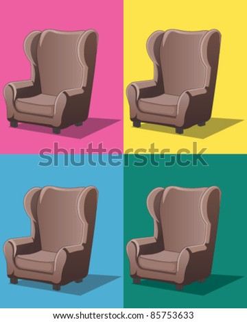 Cushioned chair - stock vector