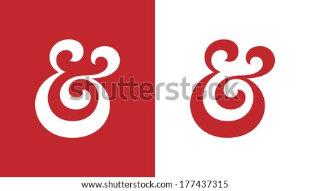 Custom ampersand. Hand drawn ampersand symbol for wedding invitation. Vector illustration - stock vector