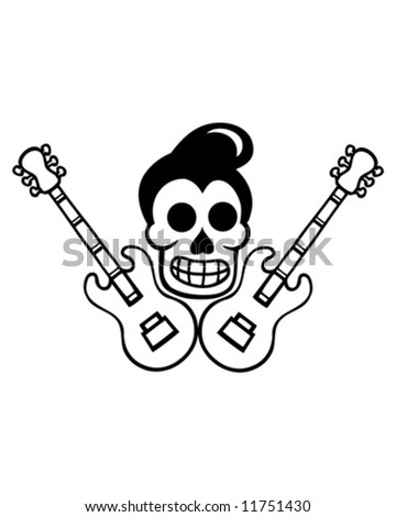 custom culture skull outline - stock vector