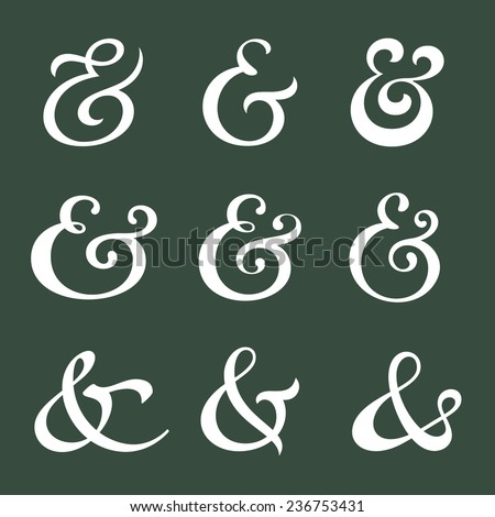 Custom decoration ampersands for wedding invitation. Polished hand drawn type. Vector illustration - stock vector