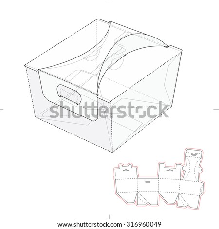 Custom Fast Food Square Box with Die Line Template - stock vector