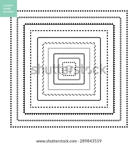 Custom made brushes frames in square - stock vector