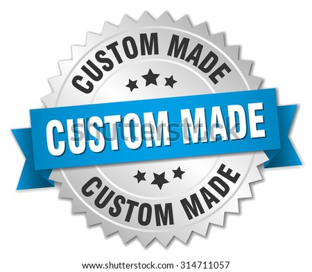 Custom made 3d silver badge with blue ribbon