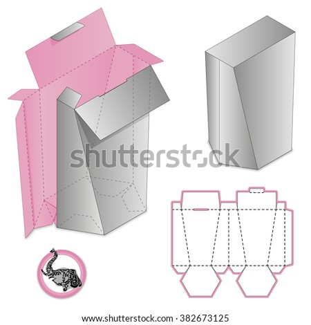 Custom Protective Box design, die-stamping,  folding, ready, closed locker - stock vector