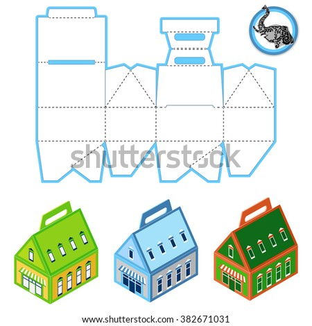 Custom Rectangle Protective Box design, Caring die-stamping Template, Folding  Instructions, Ready Handle Portable Container - stock vector