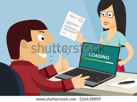 Customer Care Center. Approval documents. Processing the application in the office. Loan application. Funny experienced banker solves the problem. Simple cartoon vector illustration. - stock vector