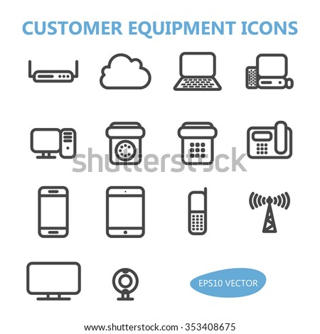 Customer Communication Equipment Icons - Isolated Vector Illustration