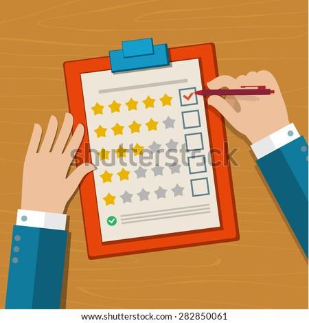 Customer feedback concept. Hand checking excellent mark in a survey. Flat design vector illustration - stock vector