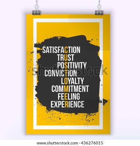 Customer Inspirational Motivational Quote Phrase - trust, satisfaction, feeling. Poster design - stock vector